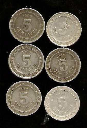Monedas de 5 cvs epoca porfirista