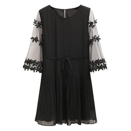 Mujer verano plisada gasa bordado mini vestido