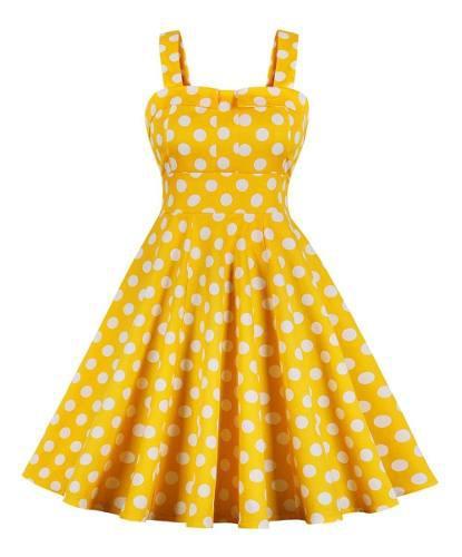 S-2xl vintage polka dot cintura alta casual vestido para dam