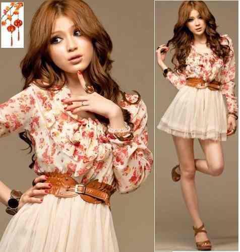 Sakura moda japones mini vestido corto playa chifon cinturon