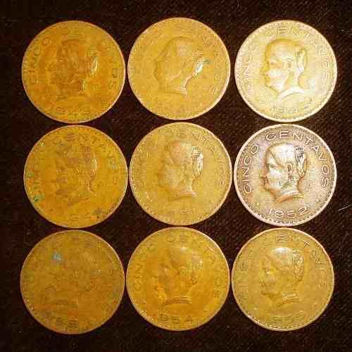 Serie 5 centavos 1943 a 1955 josefa ortiz grandes cobre