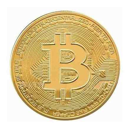 Un bitcoin moneda onza de colección oro 24k