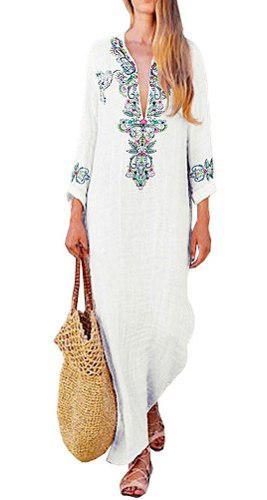 Vendimia mujeres algodón lino vestido largo impresión flor