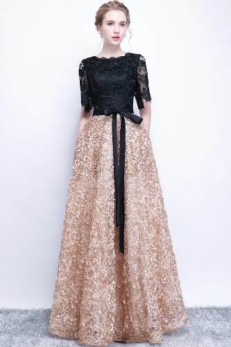 Vestido Noche Negro Dorado Rebajas Diciembre Clasf