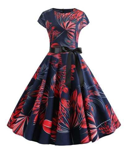 Vestido informal y moderno estilo retro floreado con cinto