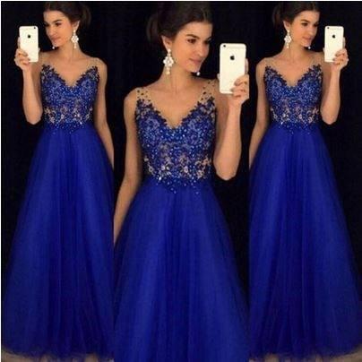 Vestido Largo Noche Azul Rebajas Diciembre Clasf