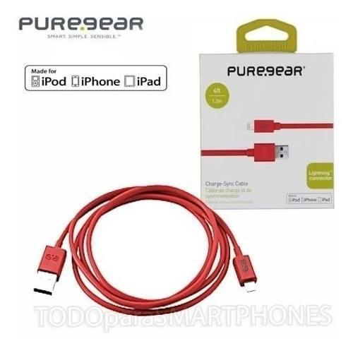 Cable datos lightning puregear rojo - iphone ipad ipod