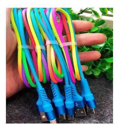 Cable multicolor del arcoíris usb cable de carga rápida v8