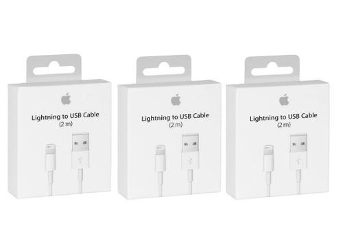 Lote 3 cables 2 metros lightning iphone 5 6 7 8 x ipad ipod