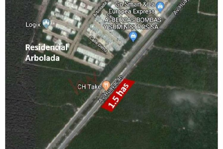 Terreno comercial 1.5 has sobre av. huayacan cancun, mexico