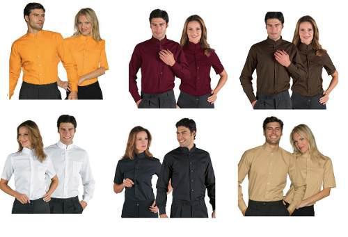 Camisas y blusas de vestir para oficinas naranja-gris 30 col