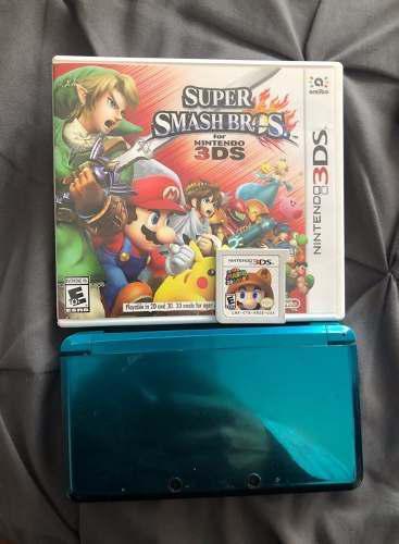 Nintendo 3ds azul con super smash bros y super mario 3d land