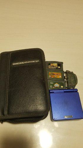 Gameboy advance sp azul con 3 juegos y estuche