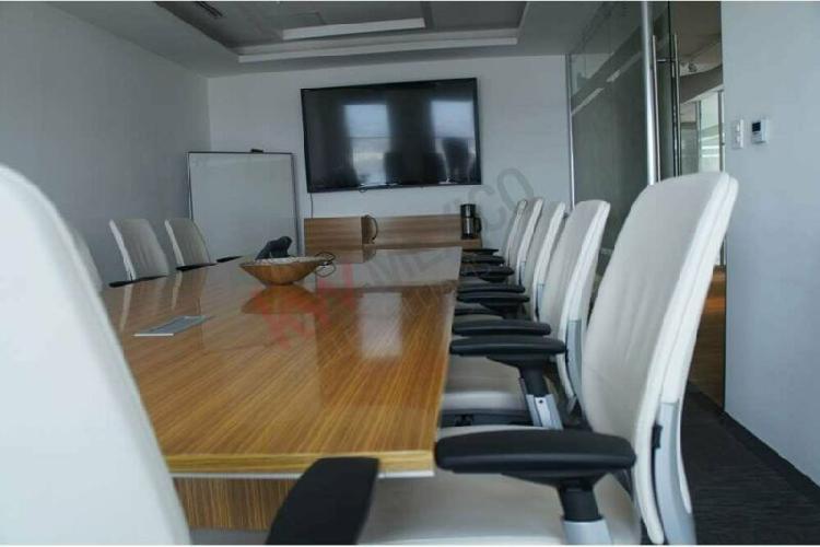 Oficina en renta en torre jv juárez con mobiliario y
