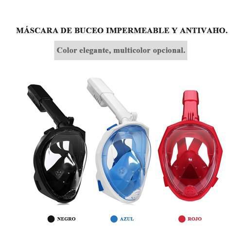 Mascara snorkel visor 180° grados full face 3 colores