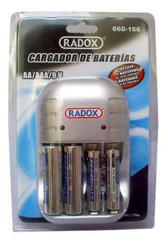 Cargador baterías aa aaa y 9v+4 baterias aa aaa envio