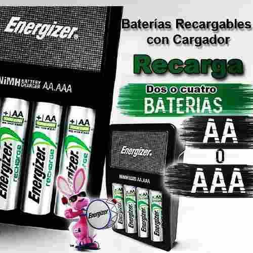 Cargador baterías energizer recargable aa / aaa + 4 pilas