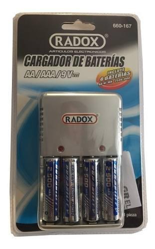 Cargador con 4 baterias pilas incluidas aa recargables,