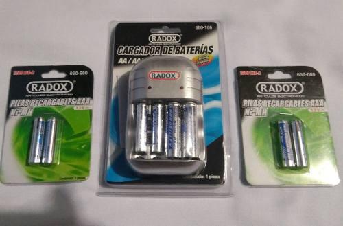 Cargador de pila con 8 baterias 2 aa y 6 aaa recargables