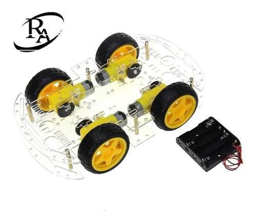 Chasis carro robot 4 llantas seguidor lineas obstaculos