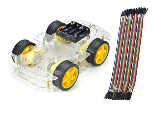 Chasis de carro kit arduino, 4 llantas + 40 jumpers !!