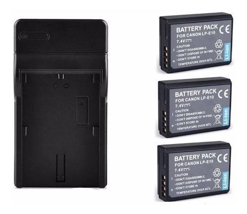 Kit cargador + 3 baterias lp-e10 pa canon eos rebel t3 t5 t6
