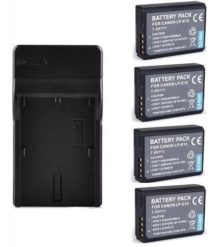 Kit cargador + 4 baterias lp-e10 pa canon eos rebel t3 t5 t6