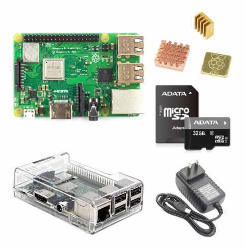 Kit raspberry pi3 b plus case transparente sd 32gb kit pi 3b