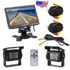 Bus truck rv 7 lcd rear view monitor + 2 x reverse backup c