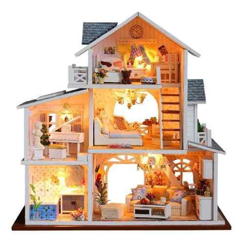 Hecho a mano 3d kit de casa diy kit miniatura led luz y caj