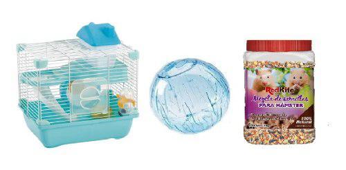 Jaula hamster 28.9x22.2x30.1 + esfera 18 cm + 1kg semillas