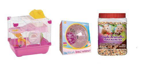 Jaula hamster sunny 28.9x22.2 + esfera 14.5cm + 1kg semillas