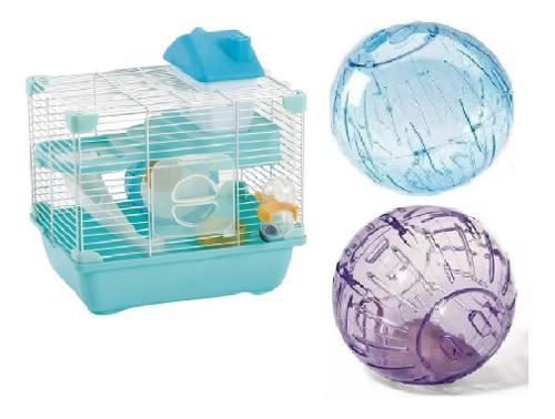 Jaula hamster sunny 28.9x22.2x30.1 + 2 esferas de 18 cm