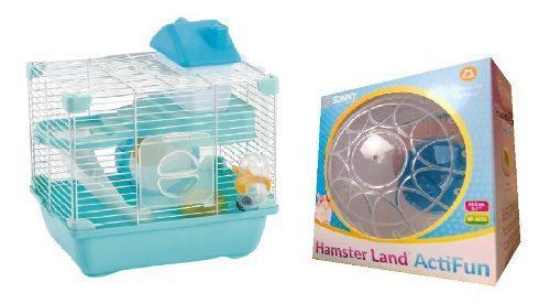 Jaula hamster sunny 28.9x22.2x30.1 + esfera 14.5cm reforzada