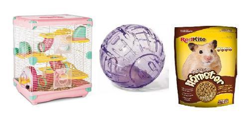 Jaula hamster todos/accesorios 36x27x42.5 + esfera+alimento