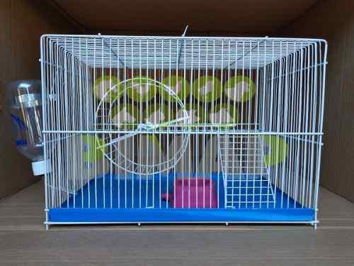 Jaula hámster ratones 2 pisos rueda escalera bebedero