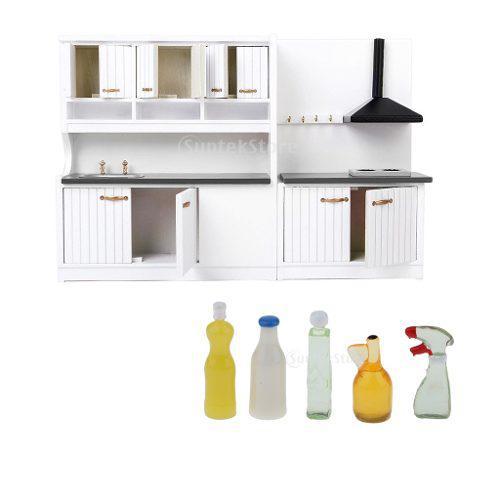 Set de miniatura muebles de cocina + ultensilios de limpiad
