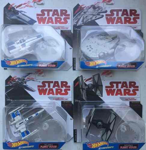 Star wars hot wheels 4 naves a-wing halcon tie x wing nuevo