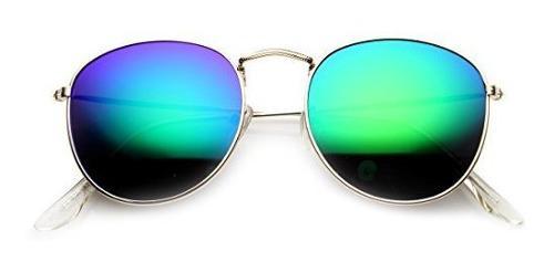 Gafas de sol redondas con montura de metal con montura de es