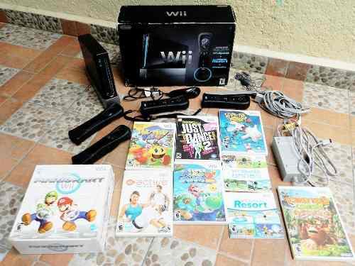Nintendo wii edición especial negro (tipo piano) + 9 juegos
