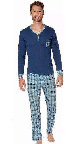 Pijama para hombre playera manga larga pantalón azul 100061