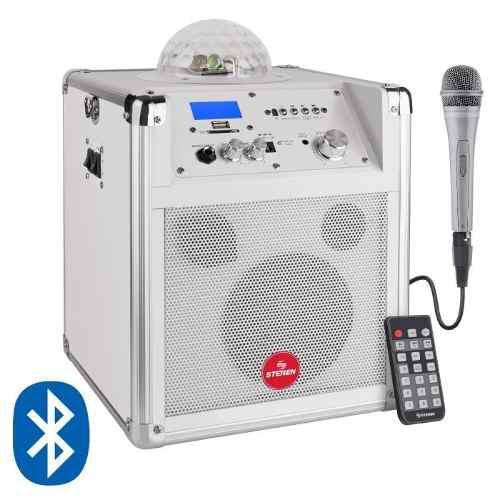 Amplificador bluetooth 125 w luces led batería microfono