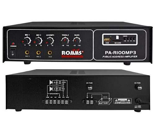 Amplificador perifoneo 100w usb sd mp3 pa-r100mp3