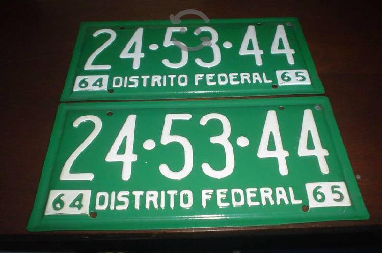 Juego placas antiguas 1964 1965 distrito federal