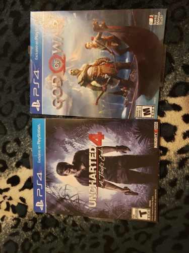 Dos juegos de ps4 uncharted 4 y god of war