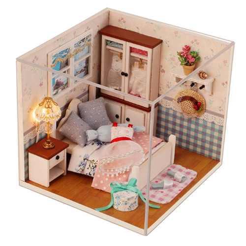 1/24 dollhouse miniatura diy kit de casa muebles de dormito