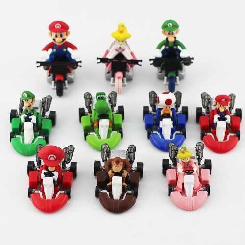 Coleccion 10 carros mario kart, yoshi, luigi, prince, figura