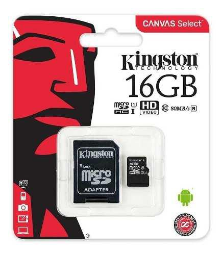 2 pack memoria micro sd kingston canvas 16 gb celular c10