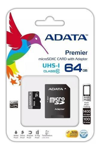 Adata memoria micro sd 64gb clase 4 celulares camara tablet