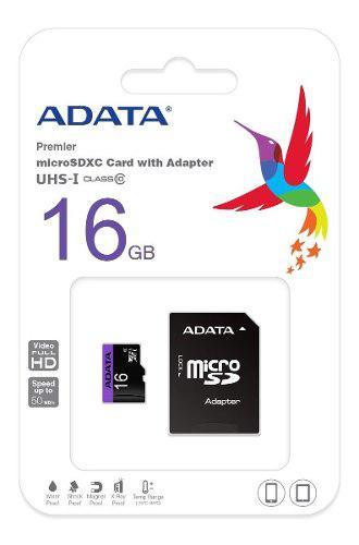 Adata memoria micro sd hc 16gb uhs-i clase 10 celulares alta